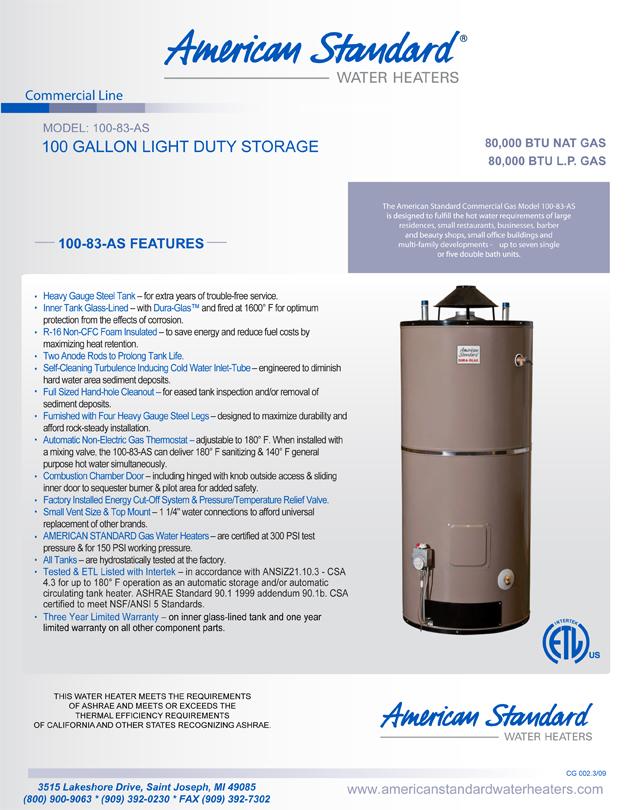N 100 83 As American Standard 100 Gallon Light Duty