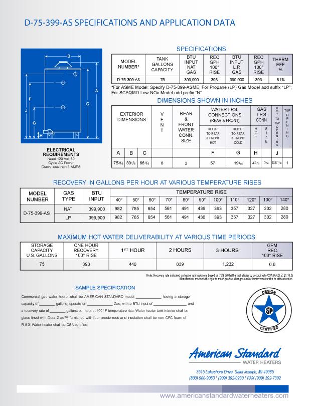 D 75 399 As American Standard 75 Gallon Heavy Duty Storage