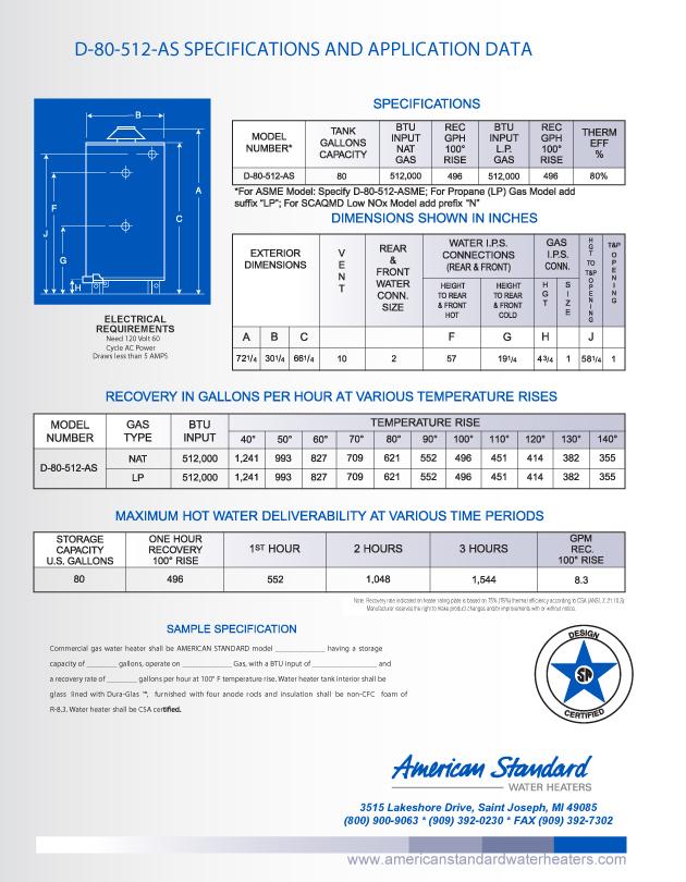 D 80 512 Asme American Standard 80 Gallon Heavy Duty