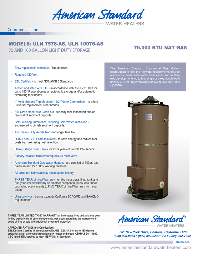 Uln 100 300 As American Standard 100 Gallon Ultra Low Nox